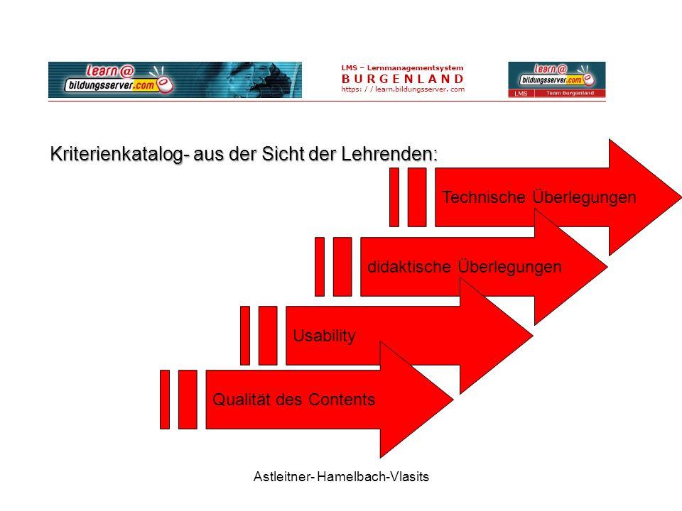 Astleitner- Hamelbach-Vlasits Technische Überlegungen Kriterienkatalog- aus der Sicht der Lehrenden: didaktische Überlegungen Usability Qualität des Contents