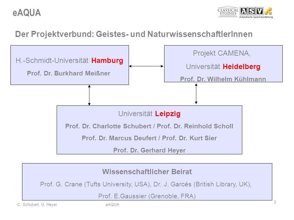 eAQUA 3 C. Schubert, G. HeyereAQUA Der Projektverbund: Geistes- und NaturwissenschaftlerInnen H.-Schmidt-Universität Hamburg Prof. Dr. Burkhard Meißne