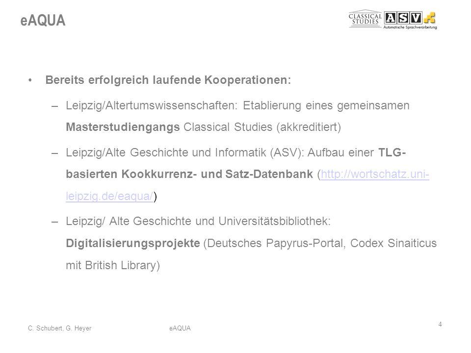 eAQUA 4 C. Schubert, G. HeyereAQUA Bereits erfolgreich laufende Kooperationen: –Leipzig/Altertumswissenschaften: Etablierung eines gemeinsamen Masters