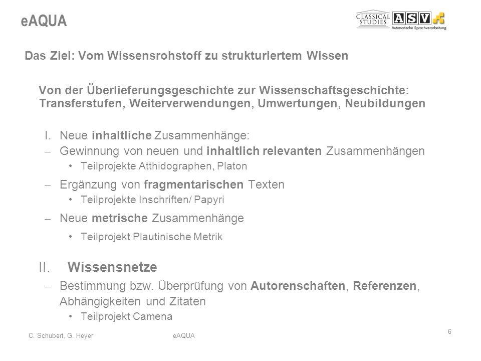 eAQUA 6 C. Schubert, G. HeyereAQUA Das Ziel: Vom Wissensrohstoff zu strukturiertem Wissen Von der Überlieferungsgeschichte zur Wissenschaftsgeschichte