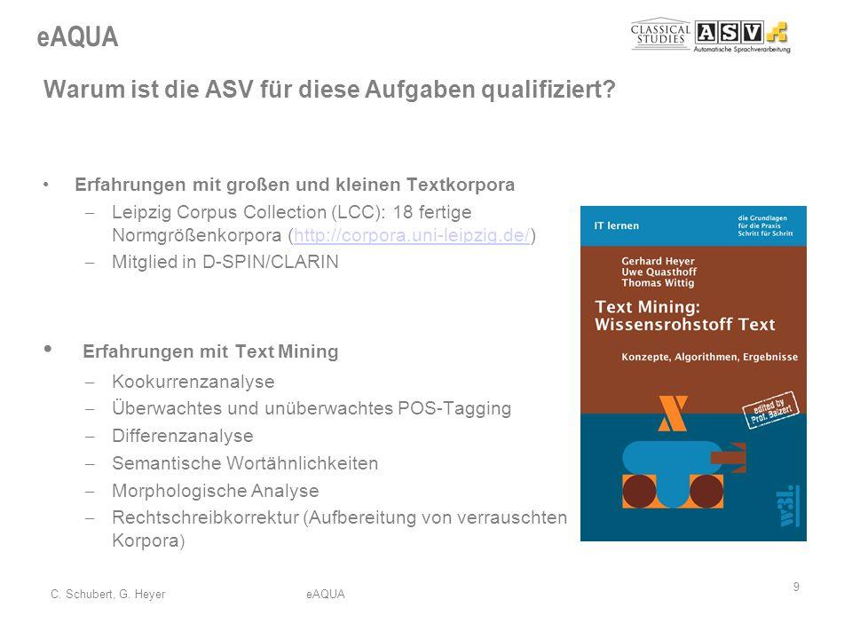 eAQUA 9 C. Schubert, G. HeyereAQUA Warum ist die ASV für diese Aufgaben qualifiziert? Erfahrungen mit großen und kleinen Textkorpora – Leipzig Corpus
