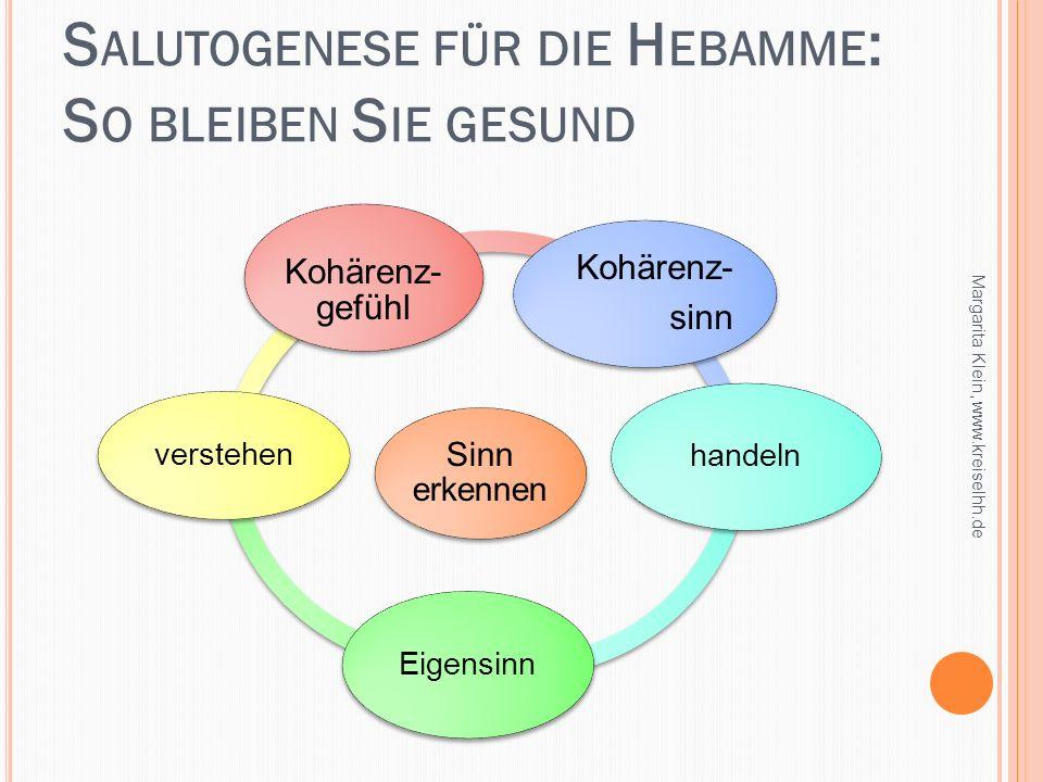S ALUTOGENESE FÜR DIE H EBAMME : S O BLEIBEN S IE GESUND Margarita Klein, www.kreiselhh.de Sinn erkennen Kohärenz- sinn handeln Eigensinn verstehen Ko