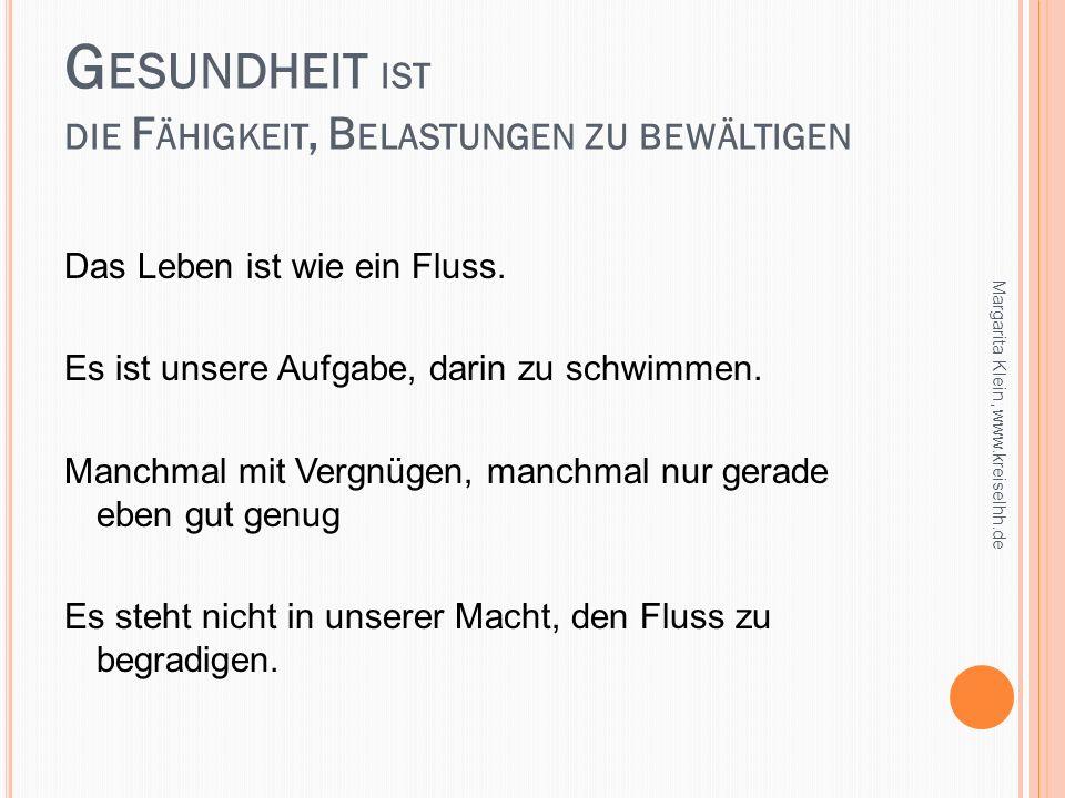 W IE G ESUNDHEIT ENTSTEHT Sinn erkennen Kohärenz- sinn handeln Eigensinn verstehen Kohärenz- gefühl Margarita Klein, www.kreiselhh.de