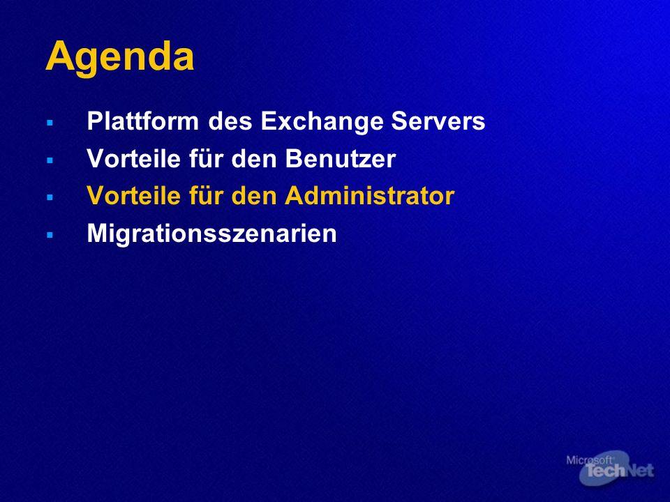 Agenda Plattform des Exchange Servers Vorteile für den Benutzer Vorteile für den Administrator Migrationsszenarien