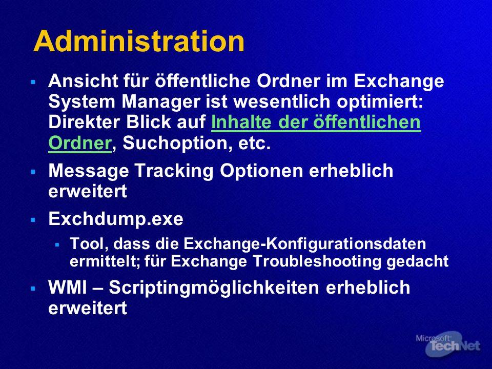 Administration Ansicht für öffentliche Ordner im Exchange System Manager ist wesentlich optimiert: Direkter Blick auf Inhalte der öffentlichen Ordner,