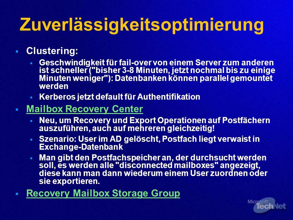 Zuverlässigkeitsoptimierung Clustering: Geschwindigkeit für fail-over von einem Server zum anderen ist schneller (