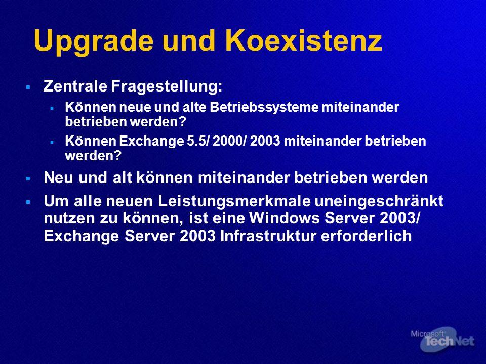 Upgrade und Koexistenz Zentrale Fragestellung: Können neue und alte Betriebssysteme miteinander betrieben werden? Können Exchange 5.5/ 2000/ 2003 mite