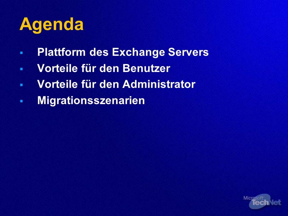 Plattform des Exchange Servers Betriebssysteme für den Exchange Server 2003 Windows 2000 Server mit SP3 Windows Server 2003 Domänenplattform Windows 2000 oder Windows 2003 Domäne Exchange Server 2000/ 2003 benötigen AD.