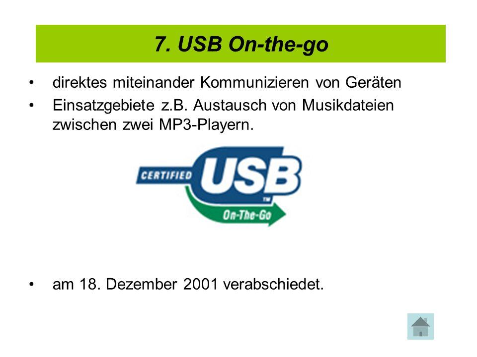 4. USB 2.0 direktes miteinander Kommunizieren von Geräten Einsatzgebiete z.B. Austausch von Musikdateien zwischen zwei MP3-Playern. am 18. Dezember 20