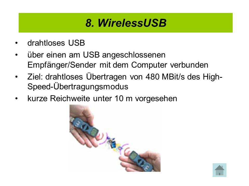 4. USB 2.0 drahtloses USB über einen am USB angeschlossenen Empfänger/Sender mit dem Computer verbunden Ziel: drahtloses Übertragen von 480 MBit/s des