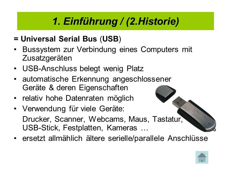 1. Einführung / (2.Historie) = Universal Serial Bus (USB) Bussystem zur Verbindung eines Computers mit Zusatzgeräten USB-Anschluss belegt wenig Platz