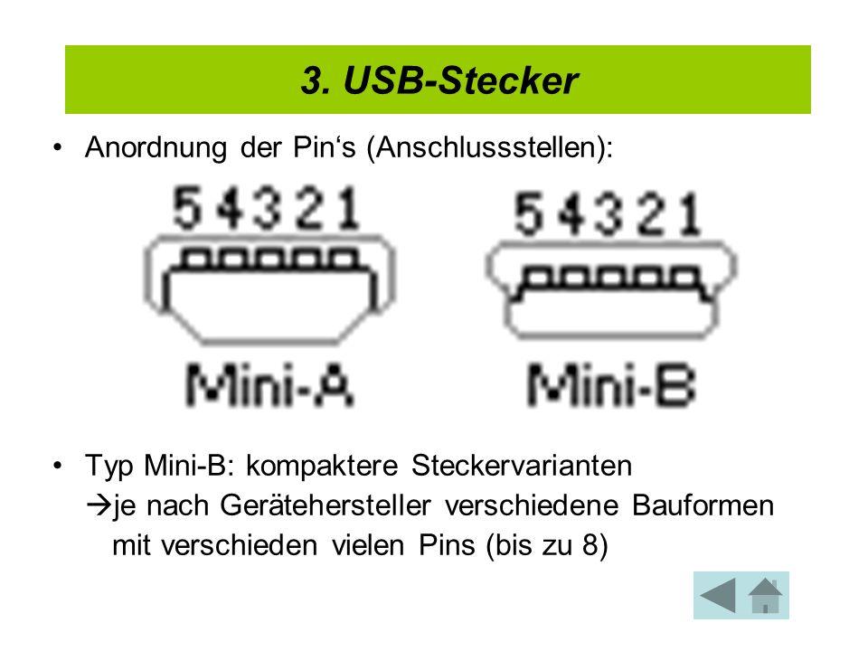 Anordnung der Pins (Anschlussstellen): Typ Mini-B: kompaktere Steckervarianten je nach Gerätehersteller verschiedene Bauformen mit verschieden vielen