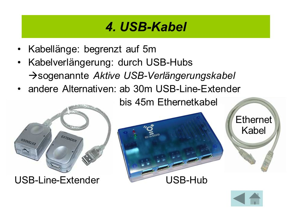 4.USB-Kabel Low Speed: 1,5Mbit/s Full Speed: 12Mbit/s High Speed: 480Mbit/s (ab USB 2.0) 5.