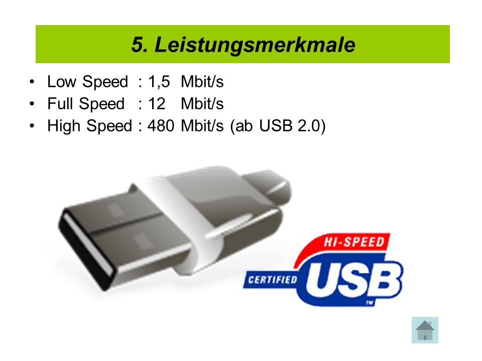 4. USB-Kabel Low Speed: 1,5Mbit/s Full Speed: 12Mbit/s High Speed: 480Mbit/s (ab USB 2.0) 5. Leistungsmerkmale
