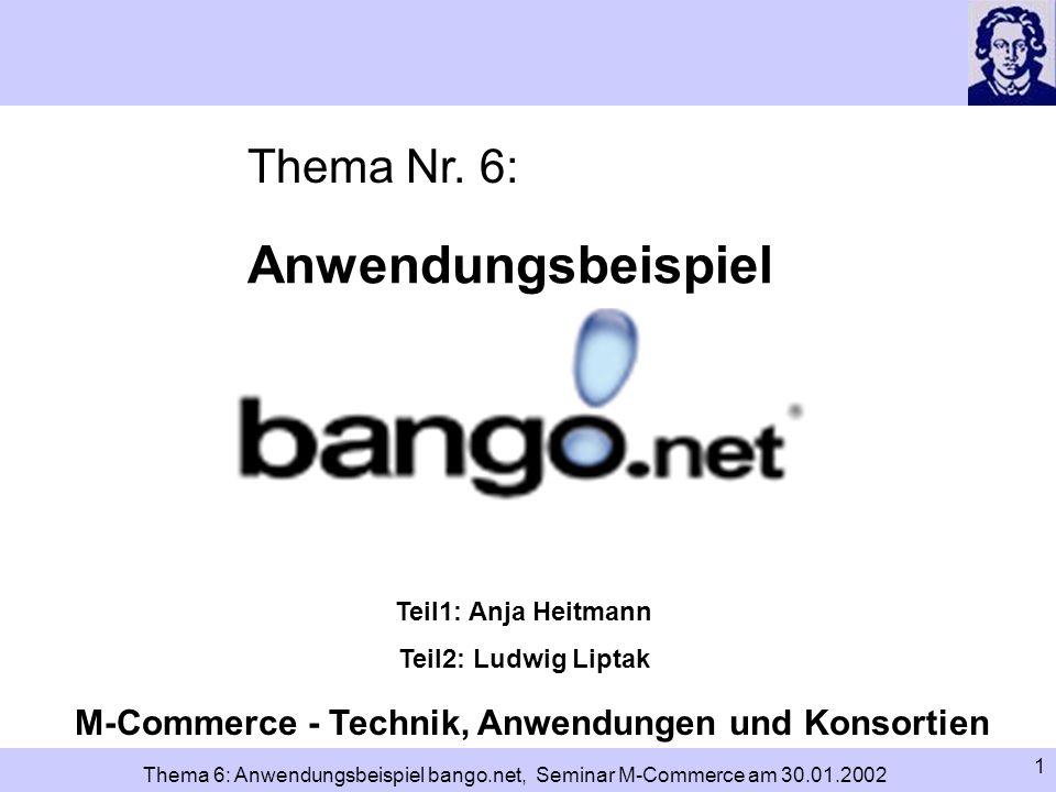 2 Thema 6: Anwendungsbeispiel bango.net, Seminar M-Commerce am 30.01.2002 Gliederung – Einleitung – Adressierung im Internet IP-Adresse DNS und Domainname Verwaltung von IP-Adressen und Domainnamen Kosten – mobile Endgeräte und ihre Schwächen – bango.net