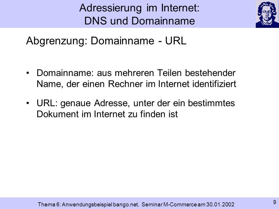 10 Thema 6: Anwendungsbeispiel bango.net, Seminar M-Commerce am 30.01.2002 Adressierung im Internet: DNS und Domainname Top-Level-Domain: Die offiziellen Top-Level-Domains (TLDs) lassen sich in 2 Blöcke unterteilen: = ccTLDs (country code Top-Level-Domains) Bsp:.de für Deutschland oder.uk für England nationale TLDs internat.