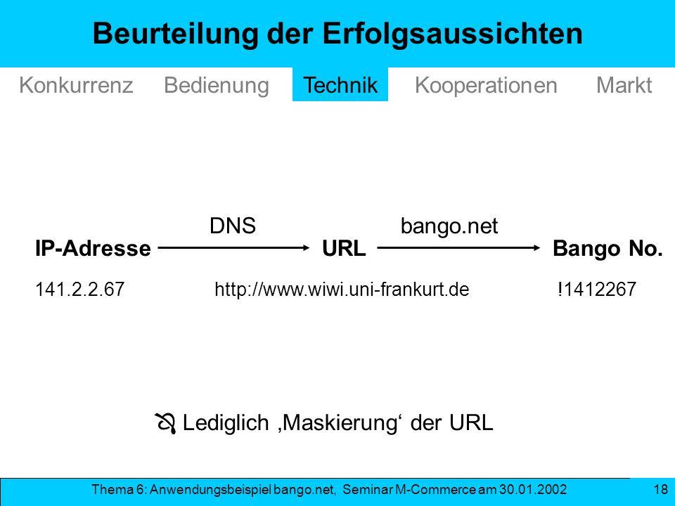 Thema 6: Anwendungsbeispiel bango.net, Seminar M-Commerce am 30.01.2002 18 Beurteilung der Erfolgsaussichten IP-Adresse TechnikKonkurrenzBedienungMark