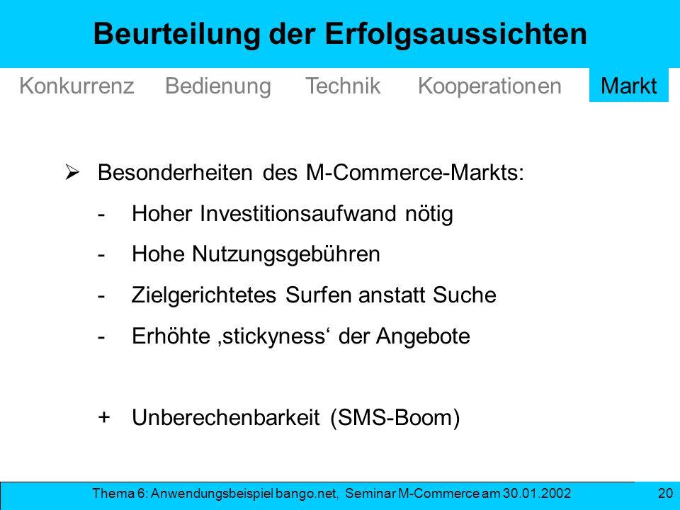Thema 6: Anwendungsbeispiel bango.net, Seminar M-Commerce am 30.01.2002 20 Beurteilung der Erfolgsaussichten TechnikKonkurrenzBedienungMarktKooperatio