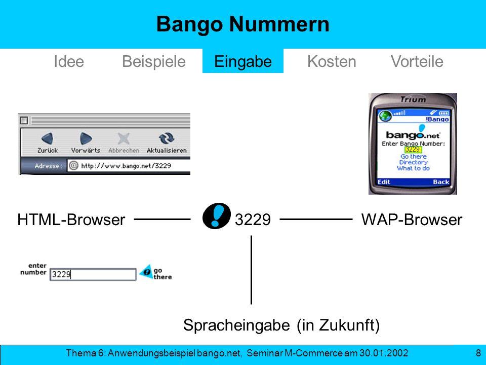Thema 6: Anwendungsbeispiel bango.net, Seminar M-Commerce am 30.01.2002 8 3229WAP-BrowserHTML-Browser Spracheingabe (in Zukunft) 3229 Bango Nummern Id