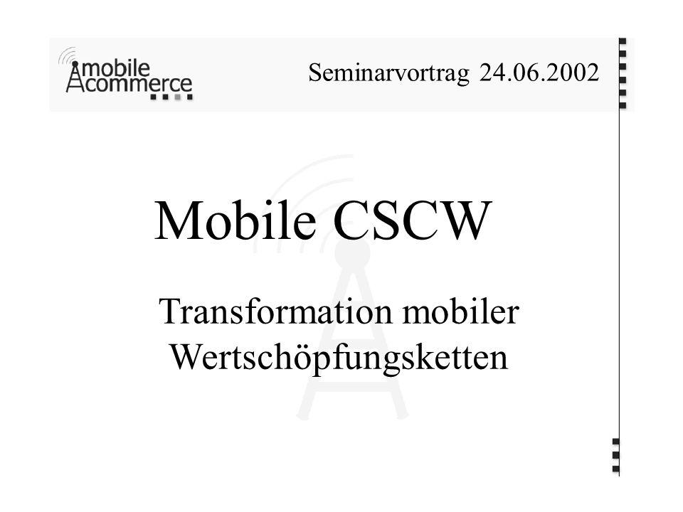 Mobile CSCW Transformation mobiler Wertschöpfungsketten Seminarvortrag 24.06.2002