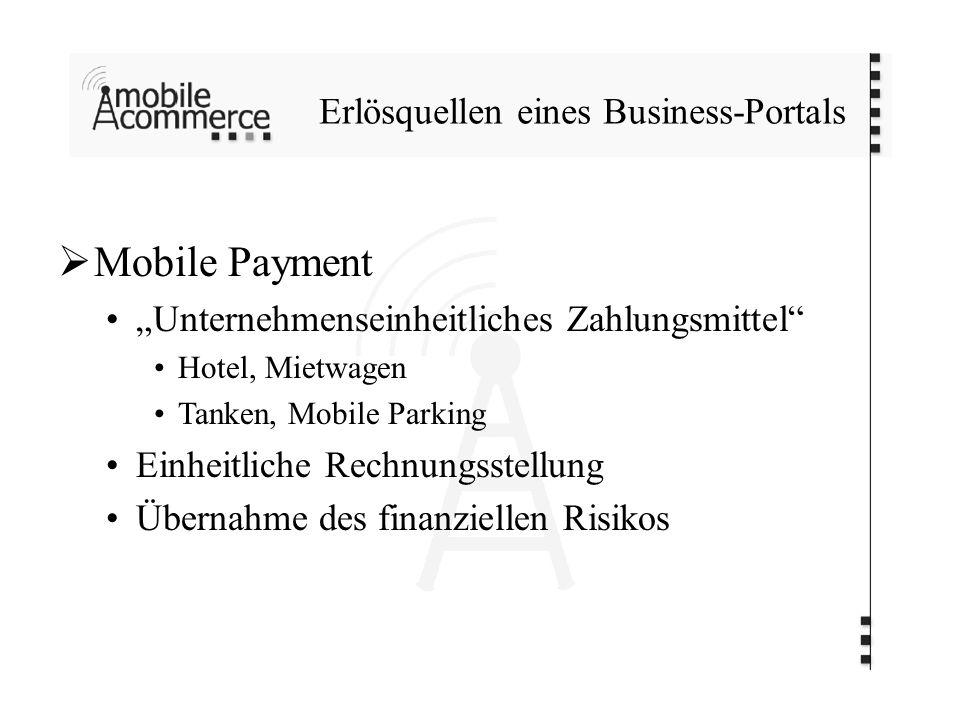 Erlösquellen eines Business-Portals Mobile Payment Unternehmenseinheitliches Zahlungsmittel Hotel, Mietwagen Tanken, Mobile Parking Einheitliche Rechnungsstellung Übernahme des finanziellen Risikos