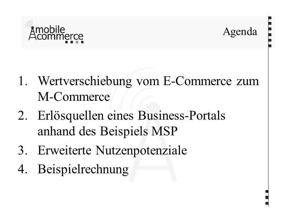 1.Wertverschiebung vom E-Commerce zum M-Commerce 2.Erlösquellen eines Business-Portals anhand des Beispiels MSP 3.Erweiterte Nutzenpotenziale 4.Beispielrechnung Agenda