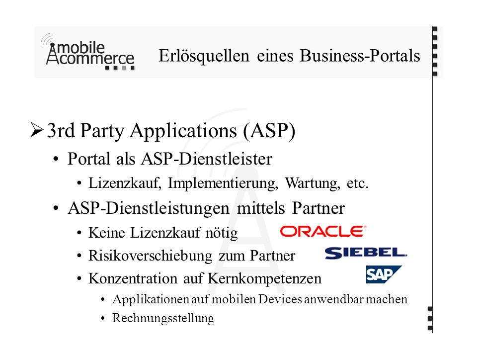 Erlösquellen eines Business-Portals 3rd Party Applications (ASP) Portal als ASP-Dienstleister Lizenzkauf, Implementierung, Wartung, etc. ASP-Dienstlei