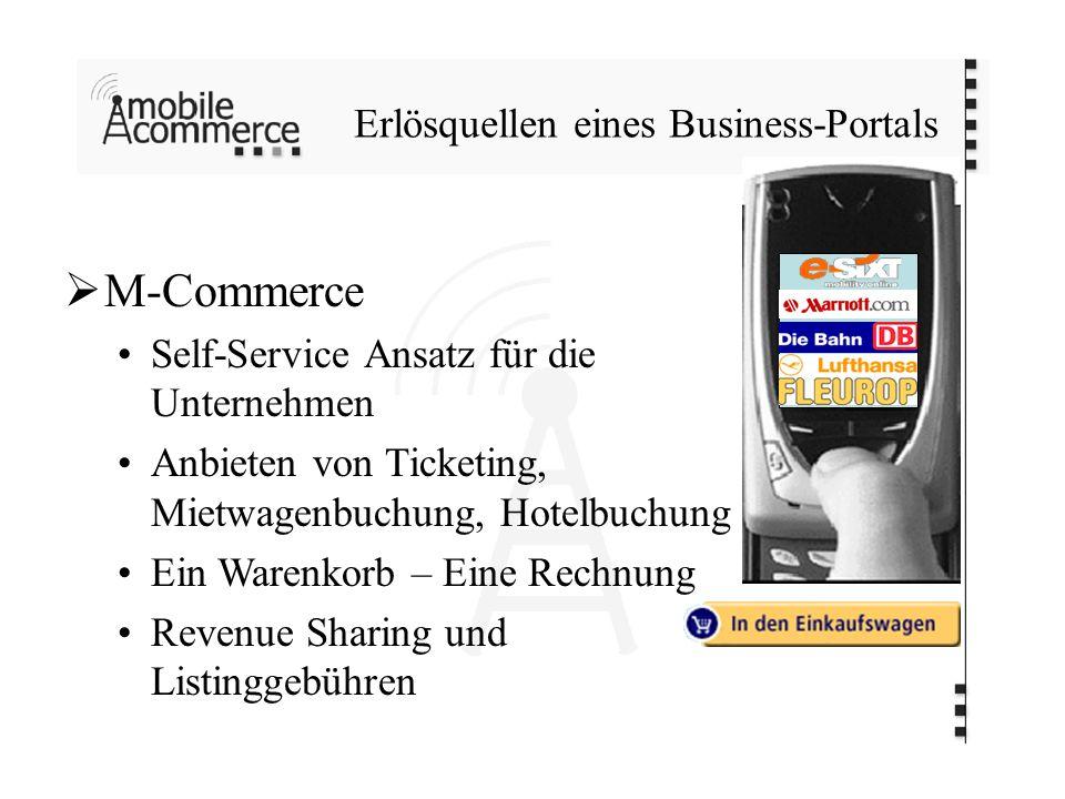 Erlösquellen eines Business-Portals M-Commerce Self-Service Ansatz für die Unternehmen Anbieten von Ticketing, Mietwagenbuchung, Hotelbuchung Ein Warenkorb – Eine Rechnung Revenue Sharing und Listinggebühren