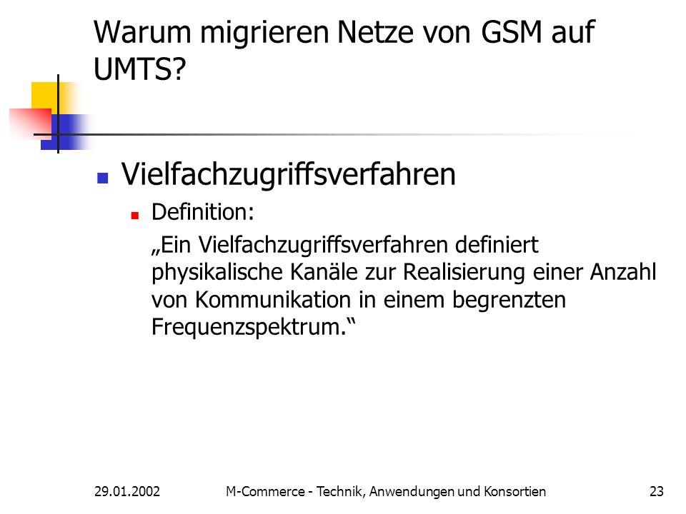 29.01.2002M-Commerce - Technik, Anwendungen und Konsortien23 Warum migrieren Netze von GSM auf UMTS? Vielfachzugriffsverfahren Definition: Ein Vielfac
