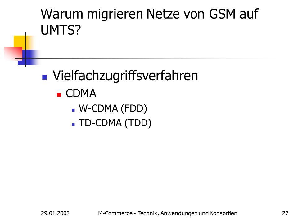 29.01.2002M-Commerce - Technik, Anwendungen und Konsortien27 Warum migrieren Netze von GSM auf UMTS? Vielfachzugriffsverfahren CDMA W-CDMA (FDD) TD-CD