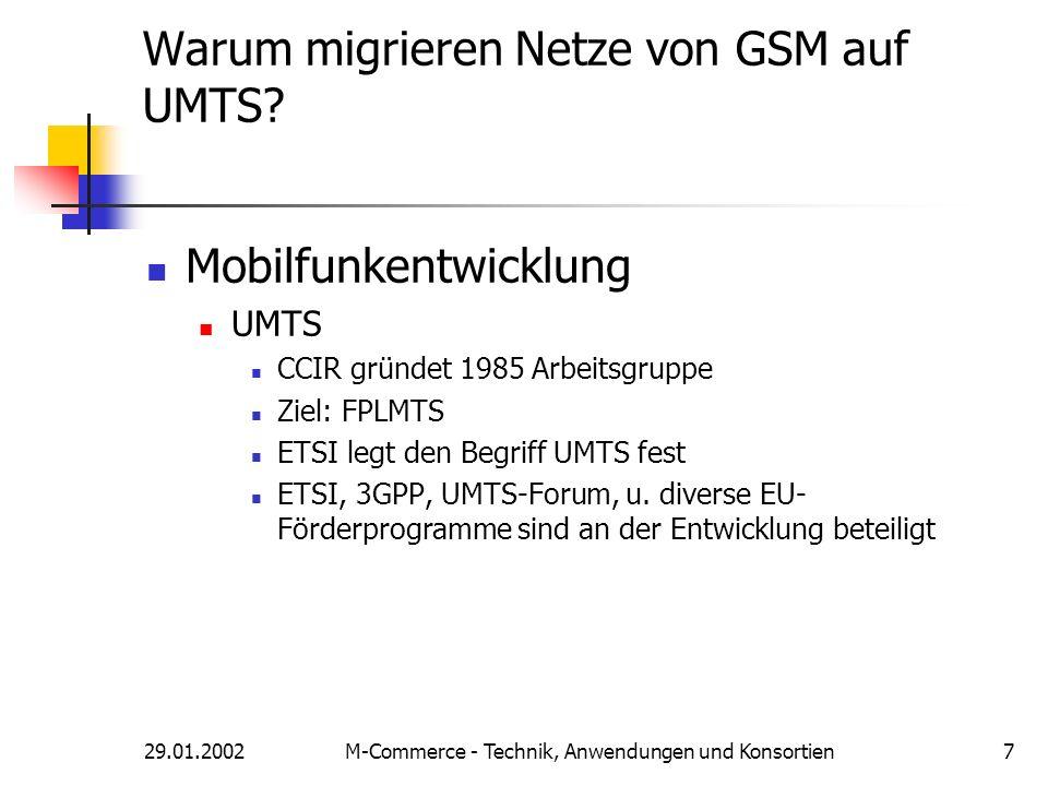 29.01.2002M-Commerce - Technik, Anwendungen und Konsortien7 Warum migrieren Netze von GSM auf UMTS? Mobilfunkentwicklung UMTS CCIR gründet 1985 Arbeit