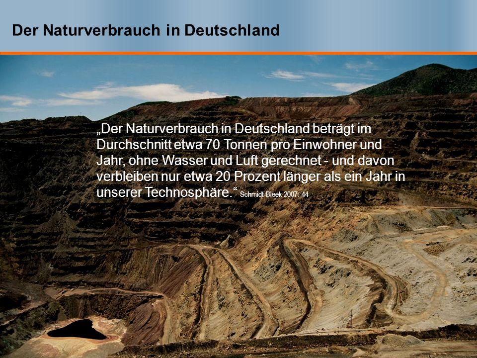 Der Naturverbrauch in Deutschland Der Naturverbrauch in Deutschland beträgt im Durchschnitt etwa 70 Tonnen pro Einwohner und Jahr, ohne Wasser und Luft gerechnet - und davon verbleiben nur etwa 20 Prozent länger als ein Jahr in unserer Technosphäre.