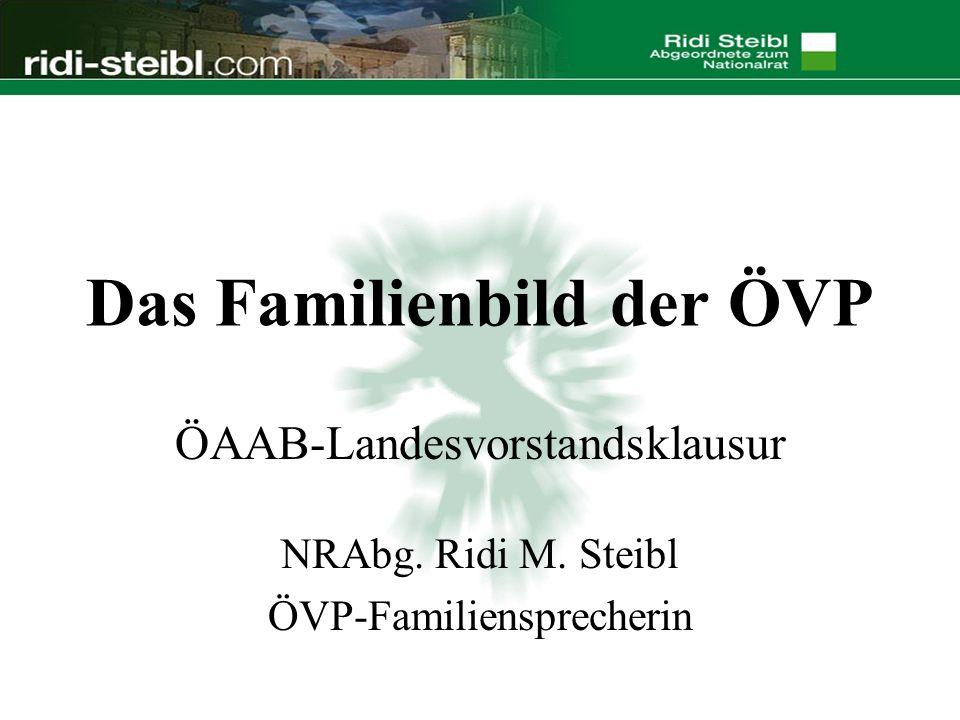 Das Familienbild der ÖVP ÖAAB-Landesvorstandsklausur NRAbg. Ridi M. Steibl ÖVP-Familiensprecherin