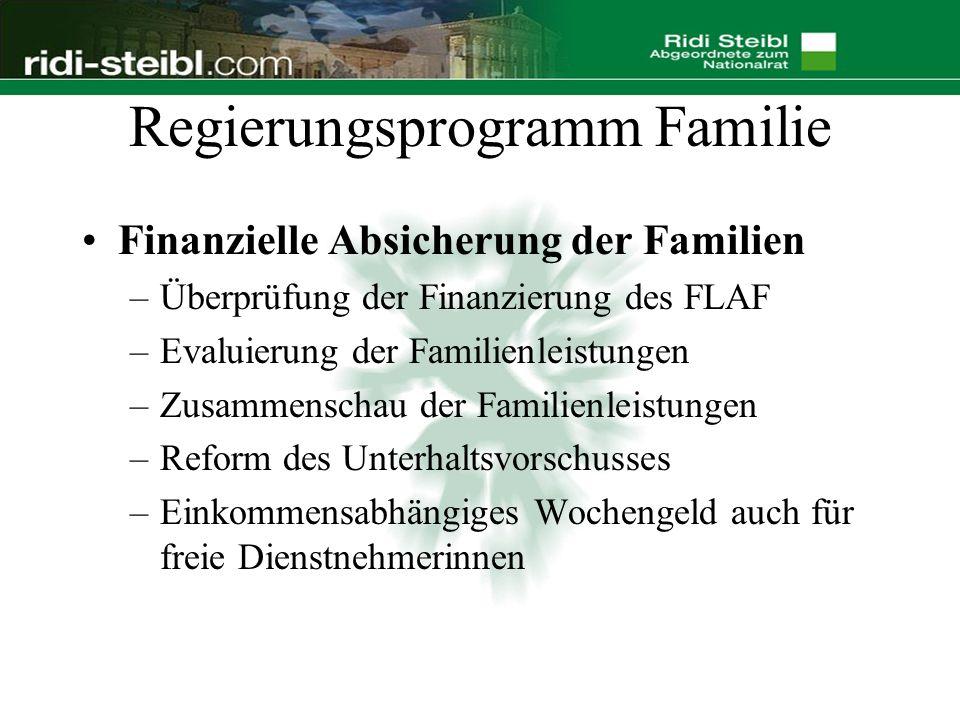 Regierungsprogramm Familie Finanzielle Absicherung der Familien –Überprüfung der Finanzierung des FLAF –Evaluierung der Familienleistungen –Zusammenschau der Familienleistungen –Reform des Unterhaltsvorschusses –Einkommensabhängiges Wochengeld auch für freie Dienstnehmerinnen