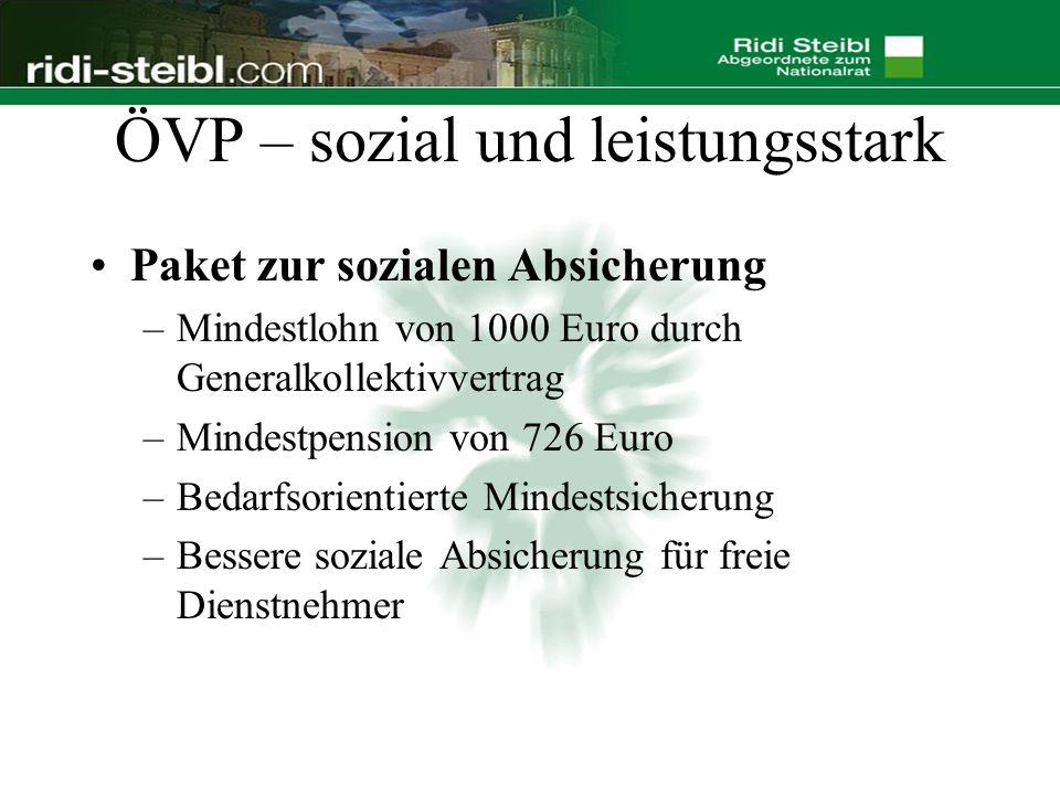 ÖVP – sozial und leistungsstark Paket zur sozialen Absicherung –Mindestlohn von 1000 Euro durch Generalkollektivvertrag –Mindestpension von 726 Euro –Bedarfsorientierte Mindestsicherung –Bessere soziale Absicherung für freie Dienstnehmer