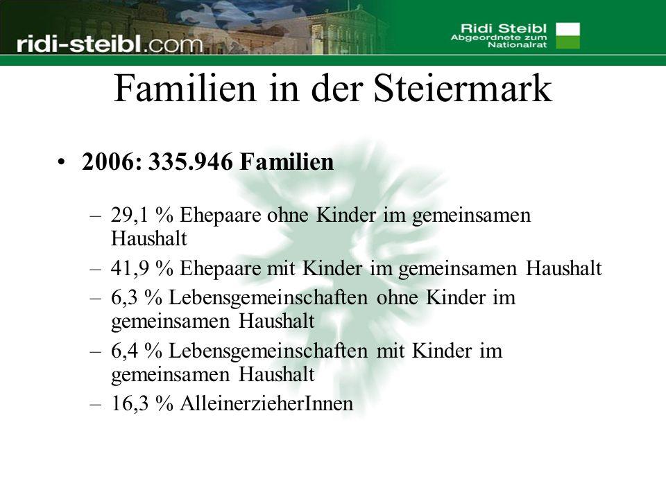Familien in der Steiermark 2006: 335.946 Familien –29,1 % Ehepaare ohne Kinder im gemeinsamen Haushalt –41,9 % Ehepaare mit Kinder im gemeinsamen Haushalt –6,3 % Lebensgemeinschaften ohne Kinder im gemeinsamen Haushalt –6,4 % Lebensgemeinschaften mit Kinder im gemeinsamen Haushalt –16,3 % AlleinerzieherInnen