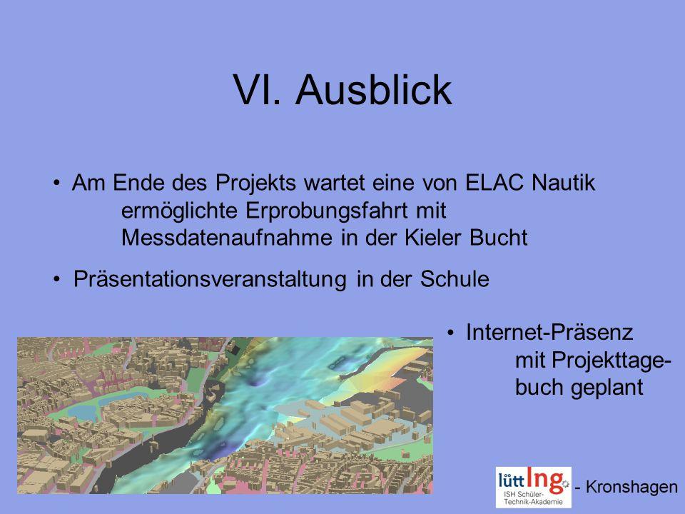 VI. Ausblick Am Ende des Projekts wartet eine von ELAC Nautik ermöglichte Erprobungsfahrt mit Messdatenaufnahme in der Kieler Bucht Präsentationsveran