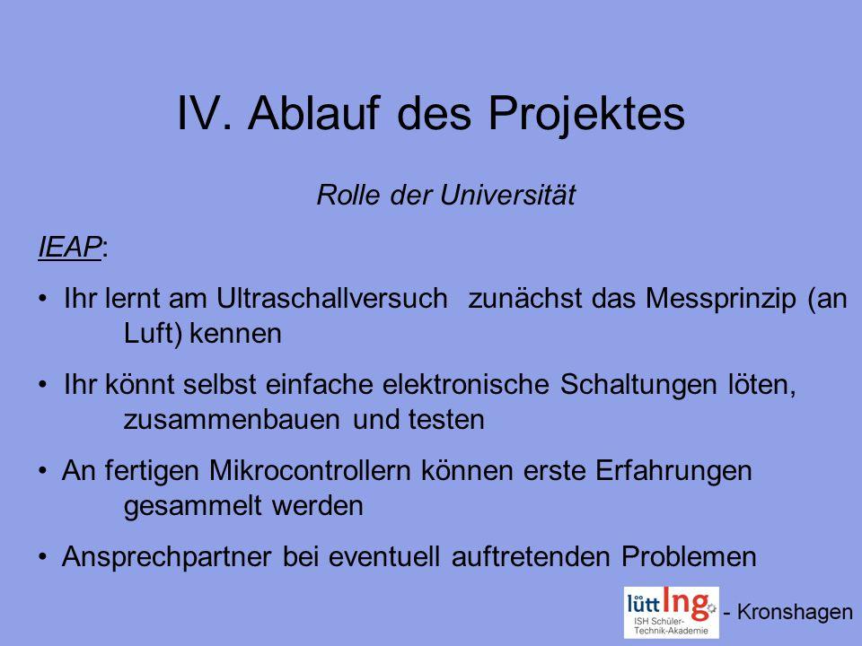 IV. Ablauf des Projektes Rolle der Universität IEAP: Ihr lernt am Ultraschallversuchzunächst das Messprinzip (an Luft) kennen Ihr könnt selbst einfach