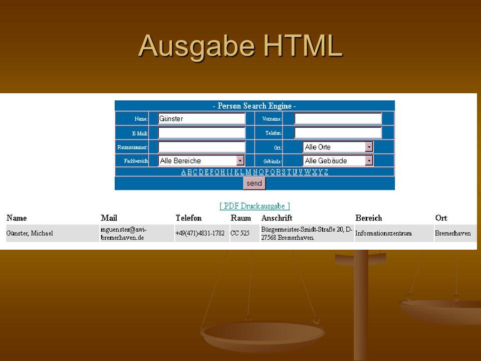 Ausgabe HTML