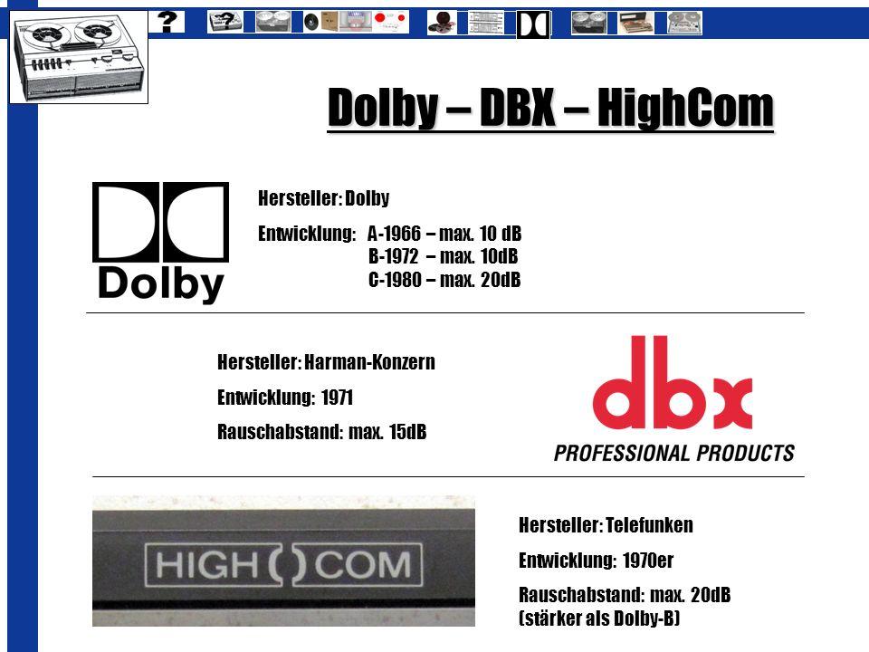 Dolby – DBX – HighCom Hersteller: Telefunken Entwicklung: 1970er Rauschabstand: max. 20dB (stärker als Dolby-B) Hersteller: Dolby Entwicklung: A-1966