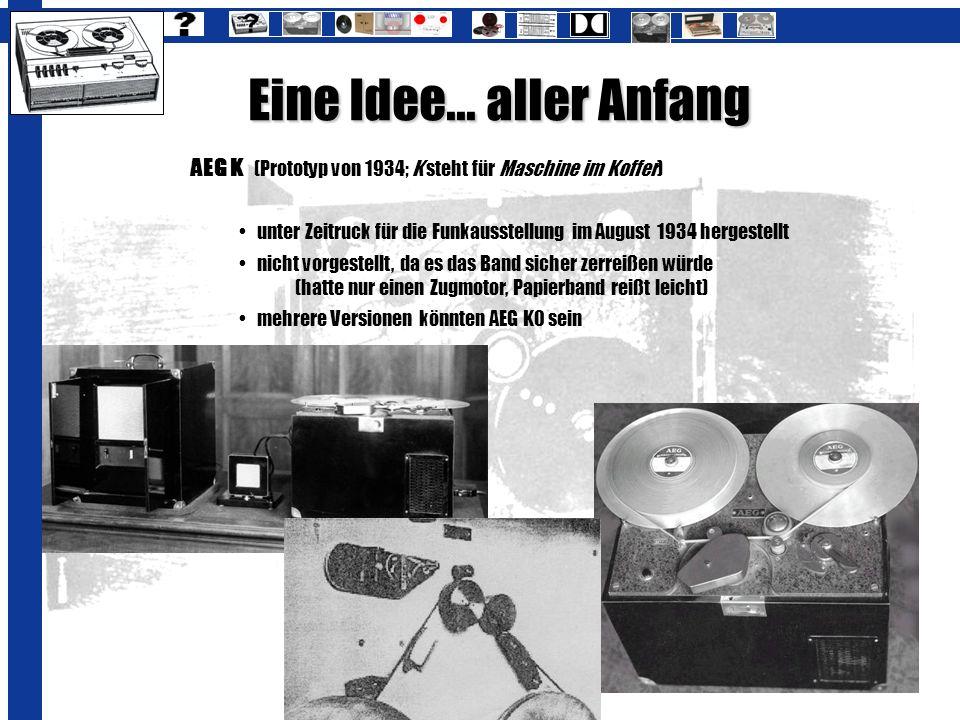 Eine Idee... aller Anfang AEG K (Prototyp von 1934; K steht für Maschine im Koffer) unter Zeitruck für die Funkausstellung im August 1934 hergestellt