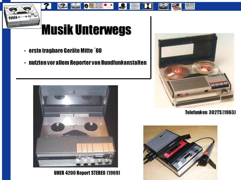 Musik Unterwegs -erste tragbare Geräte Mitte ´60 -nutzten vor allem Reporter von Rundfunkanstalten UHER 4200 Report STEREO (1969) Telefunken 302TS (19