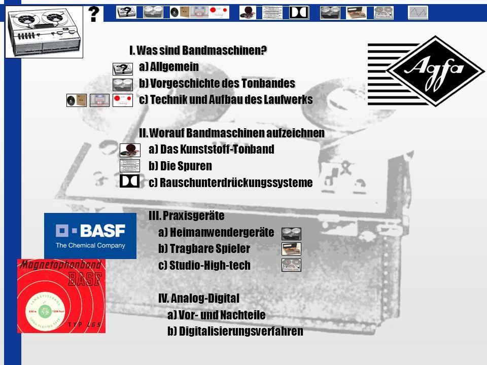 I. Was sind Bandmaschinen? a) Allgemein b) Vorgeschichte des Tonbandes b) Vorgeschichte des Tonbandes c) Technik und Aufbau des Laufwerks c) Technik u