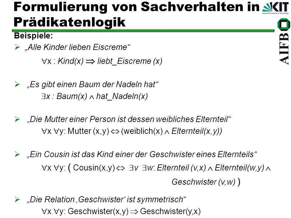 Formulierung von Sachverhalten in Prädikatenlogik Beispiele: Alle Kinder lieben Eiscreme x : Kind(x) liebt_Eiscreme (x) Es gibt einen Baum der Nadeln