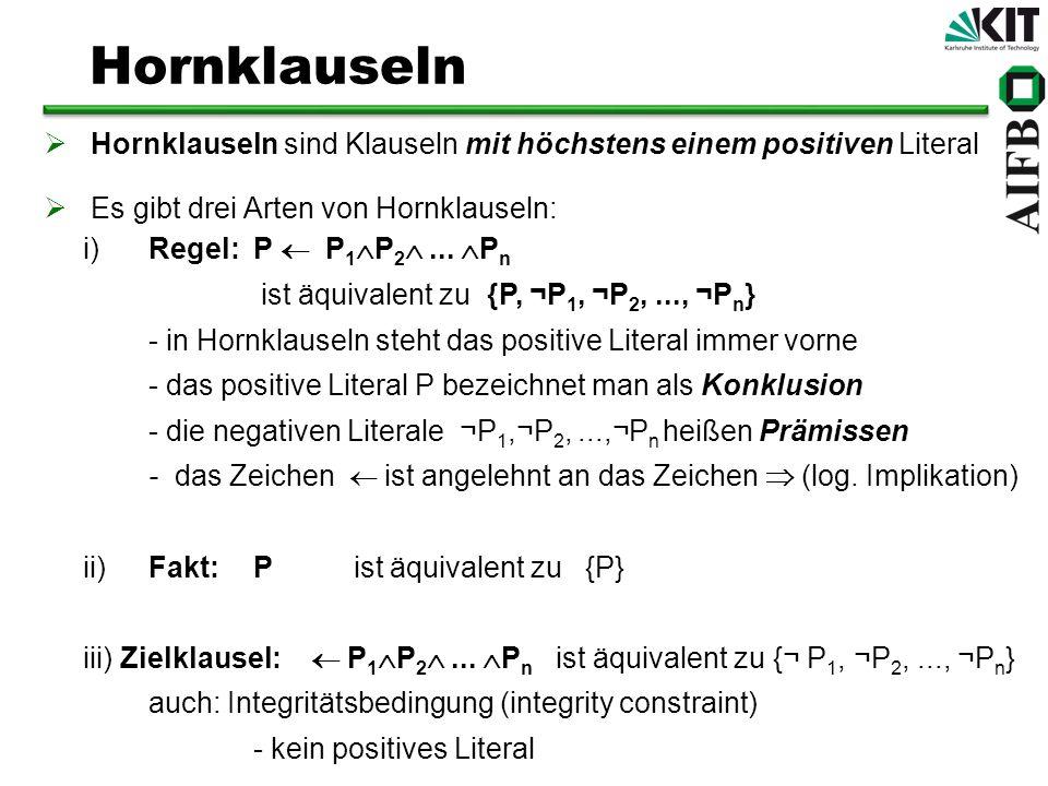 Hornklauseln sind Klauseln mit höchstens einem positiven Literal Es gibt drei Arten von Hornklauseln: i)Regel:P P 1 P 2... P n ist äquivalent zu {P, ¬