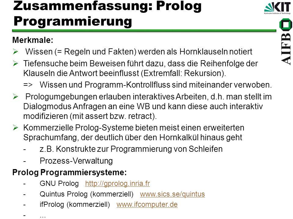 Zusammenfassung: Prolog Programmierung Merkmale: Wissen (= Regeln und Fakten) werden als Hornklauseln notiert Tiefensuche beim Beweisen führt dazu, da