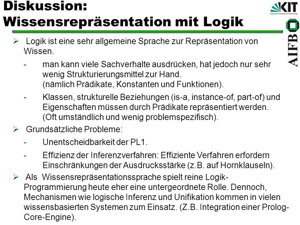 Diskussion: Wissensrepräsentation mit Logik Logik ist eine sehr allgemeine Sprache zur Repräsentation von Wissen. -man kann viele Sachverhalte ausdrüc