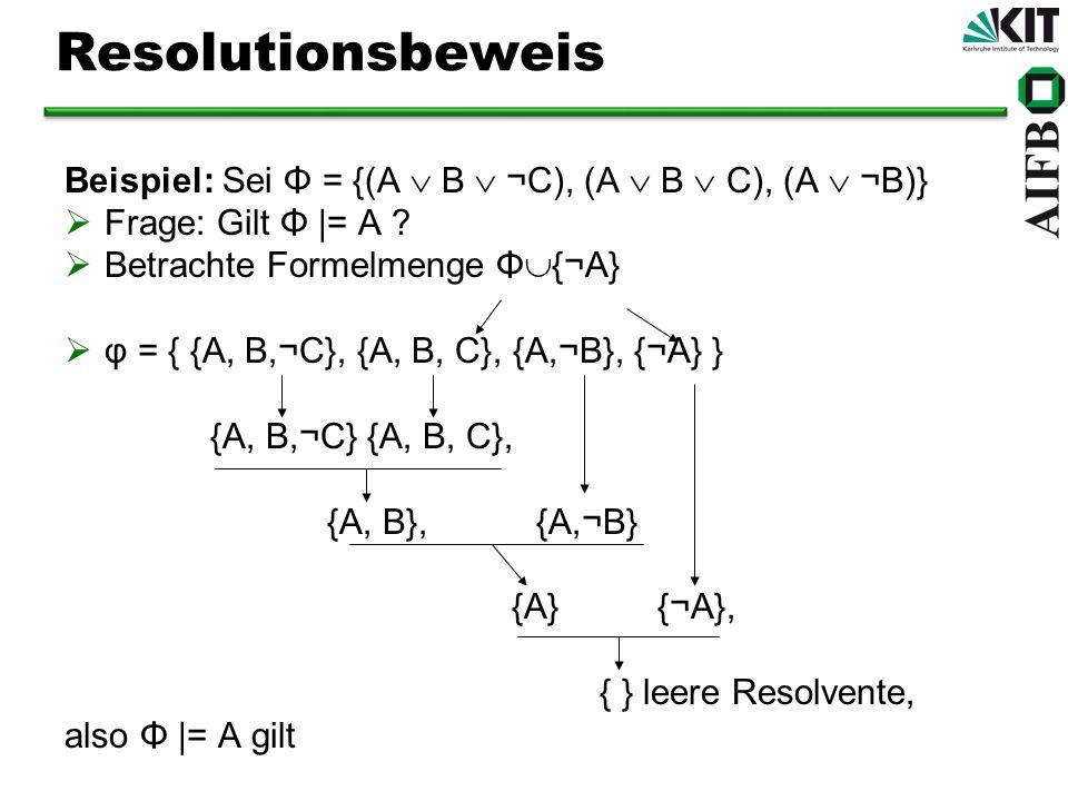 Resolutionsbeweis Beispiel: Sei Φ = {(A B ¬C), (A B C), (A ¬B)} Frage: Gilt Φ |= A ? Betrachte Formelmenge Φ {¬A} φ = { {A, B,¬C}, {A, B, C}, {A,¬B},