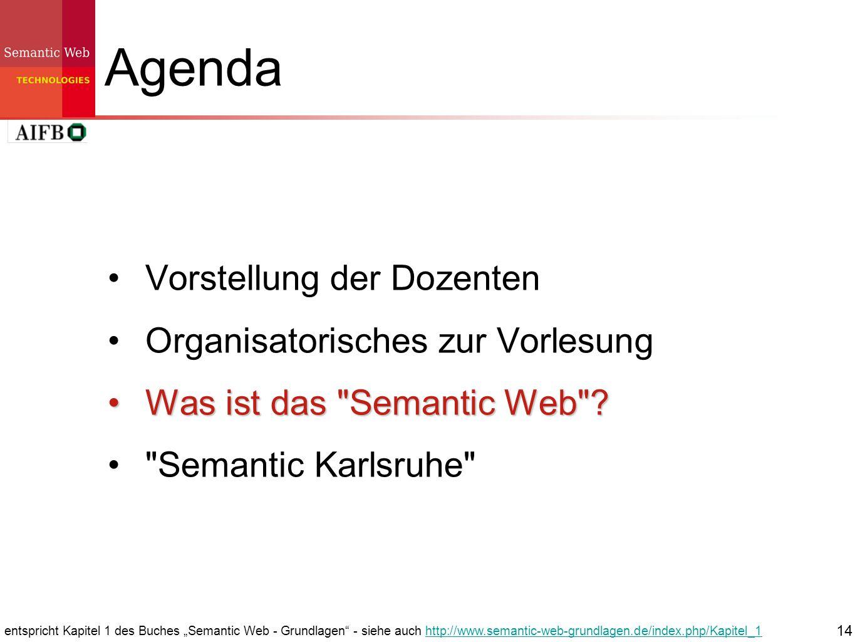 14 Agenda Vorstellung der Dozenten Organisatorisches zur Vorlesung Was ist das