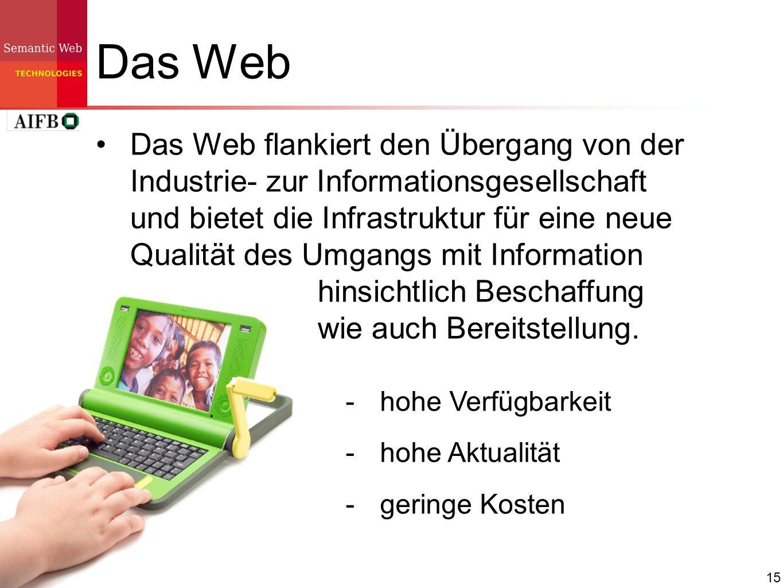 15 Das Web Das Web flankiert den Übergang von der Industrie- zur Informationsgesellschaft und bietet die Infrastruktur für eine neue Qualität des Umga